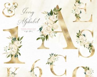 Gold Alphabet Clipart, White Floral Alphabet Clip art, Watercolor Flowers Alphabet Letters Digits Numbers Font Graphics Sublimation PNG