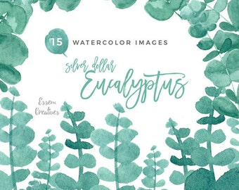 Eucalyptus Clipart, Watercolor Leaves Clip art, Greenery clipart, Eucalyptus Wedding Invitation, Mint, Green, Olive Wreath, Branches clipart