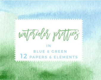Blue and Green Watercolor Ombre Backgrounds, Greenery Splash Clipart, Nautical Watercolor Wedding Invite Clipart, Digital Printable Papers