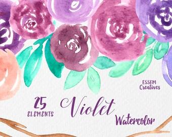 Purple Watercolor Flowers Clipart Rustic Mauve Leaves Winter Wedding Invitation Violet Roses Watercolour Bouquet Graphic