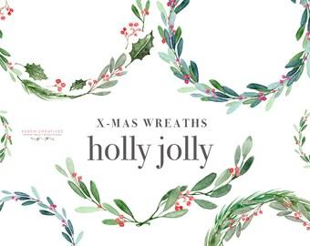 Christmas Wreath Clipart Holly Jolly Clip Art Watercolor Winter Mistletoe Holiday Card Festive Digital Graphics