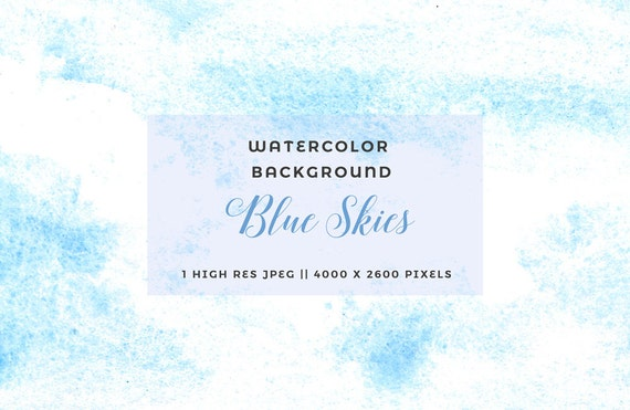 Watercolor Sky Clipart Abstract Background Light Blue Clouds Etsy
