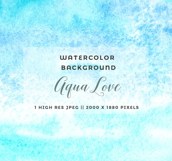 Abstract Watercolor Background Aqua Teal Blue Watercolour Etsy