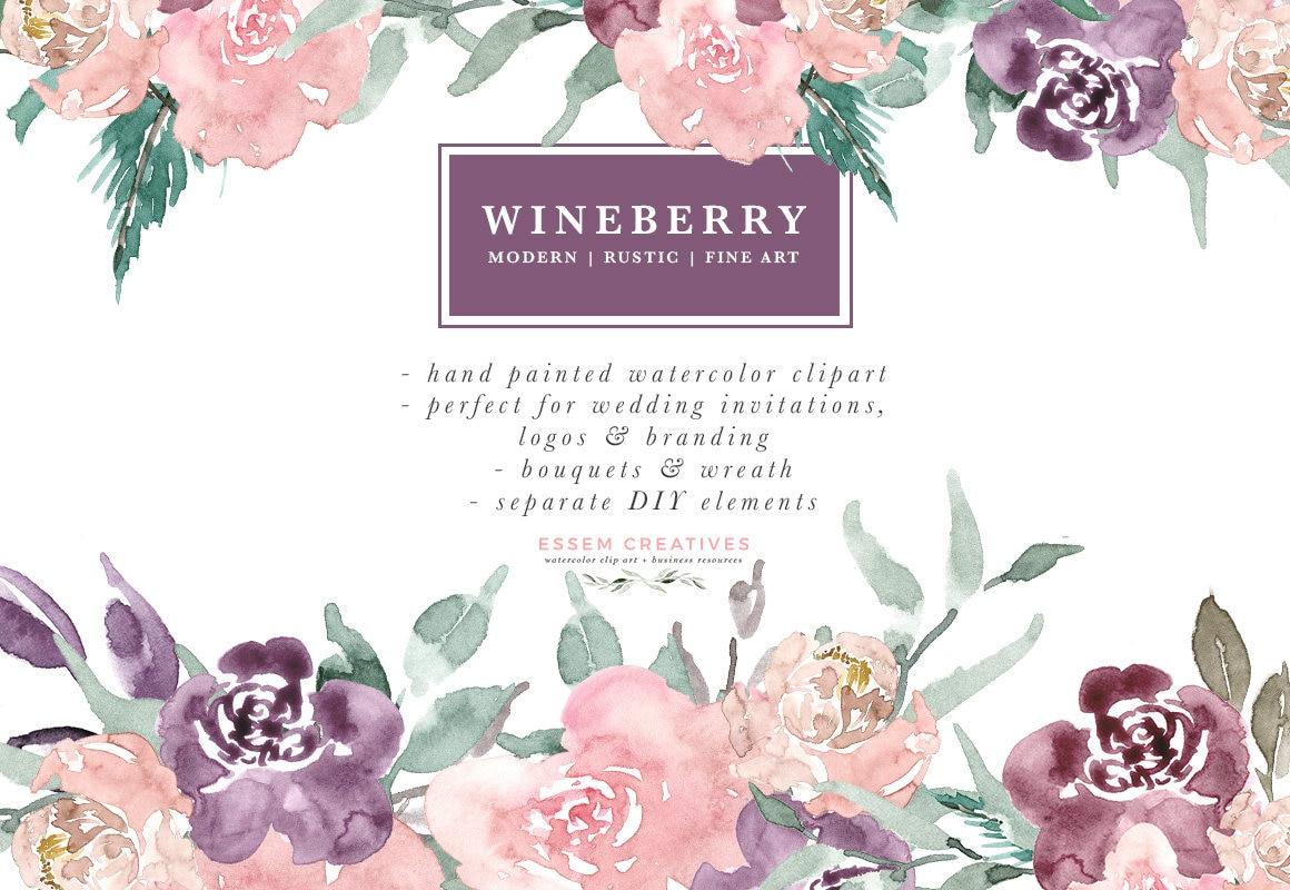 Watercolor Flowers Clipart Plum Wine Berry Burgundy Fine