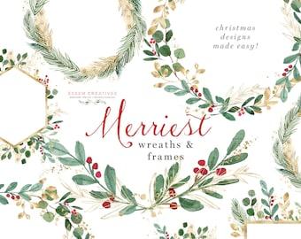 Christmas Wreath Clipart, Hollyhock Clip Art, Watercolor Winter Clipart, Mistletoe Clipart, Holiday Card Clipart, Festive Digital Graphics