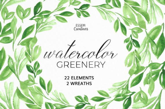 watercolor leaves clipart leaf wreath green branch etsy