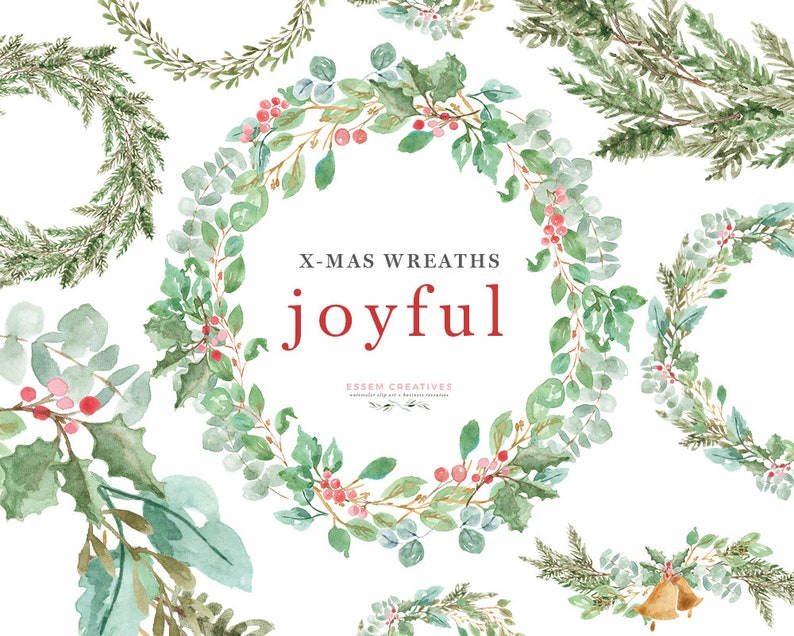 Watercolor Christmas Wreath Clipart Greenery Holiday Card Etsy