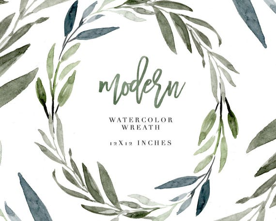 watercolor wreath clipart modern leaf wreath olive leaves etsy