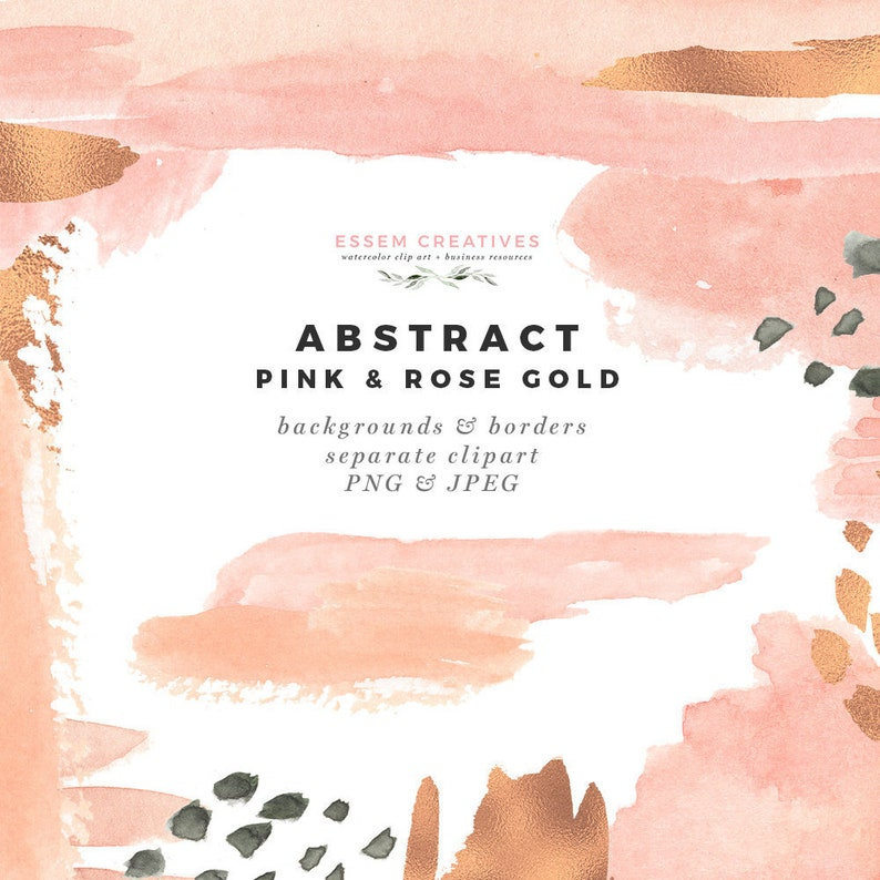 Modern Abstract Pink Rose Gold Clipart Watercolor Paint Etsy