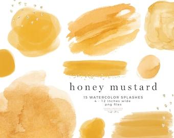 Honey Mustard Watercolor Clipart Texture Shape Splash, Yellow Watercolor Background Brush Strokes Overlay, Digital Planner Sticker Graphics