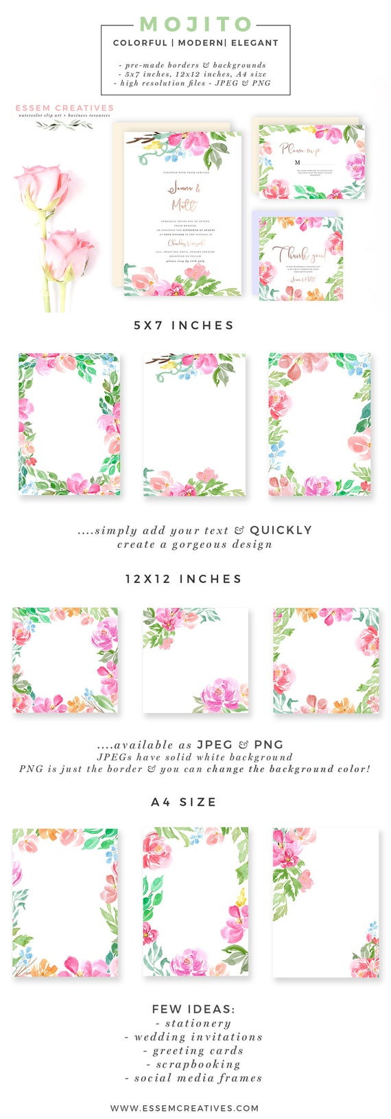 Floral Borders Clipart Watercolor Background 12x12 5x7 A4 Etsy
