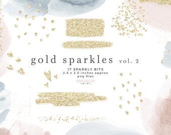 Gold Sparkle Glitter Clipart Overlay, Sublimation PNG File Logo Branding Abstract Gold Foil Confetti Heart Brush Stroke Rectangle Brush Mark