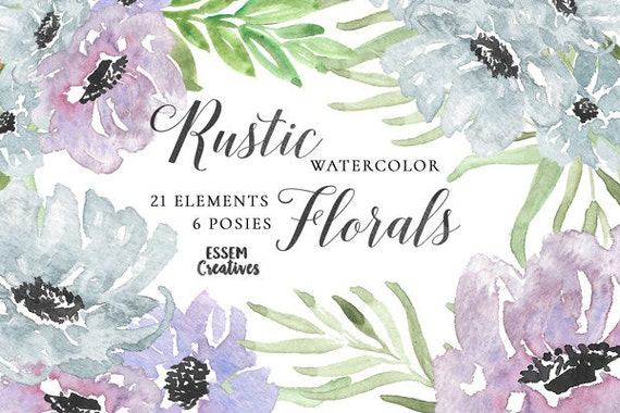 Purple Watercolor Flowers Clipart Leaves Winter
