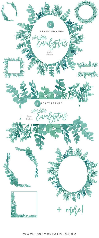Eucalyptus Frames Clipart Watercolor Wreath Clipart Digital | Etsy