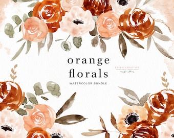 Orange Floral Clipart, Boho Wreath Clipart, Watercolor Floral Frame Clipart, Floral Bouquet PNG, Rustic Burnt Orange Peach Flowers Clipart