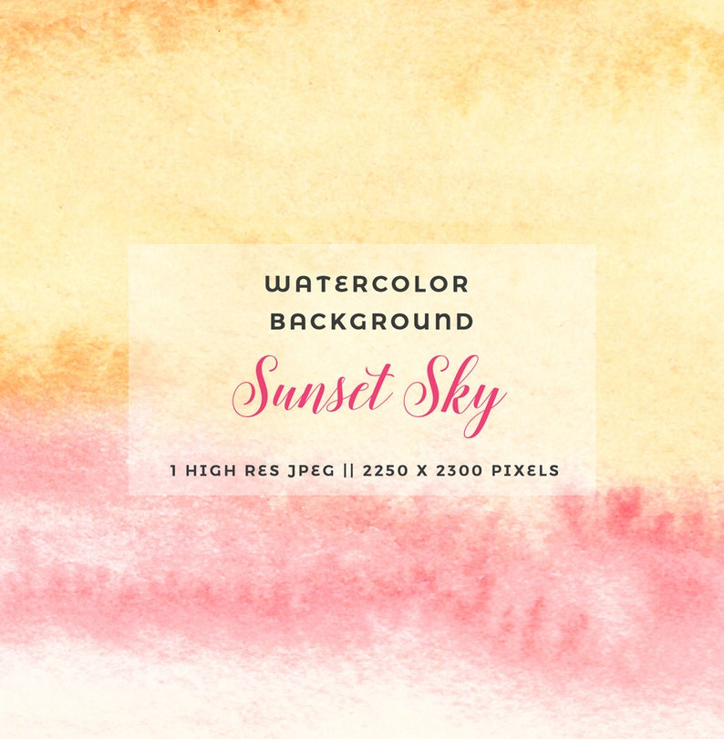 Abstract Watercolour Background Sunset Sky Watercolor Yellow Pink Pastel Watercolour Texture Printable Paper Invitation Card Background