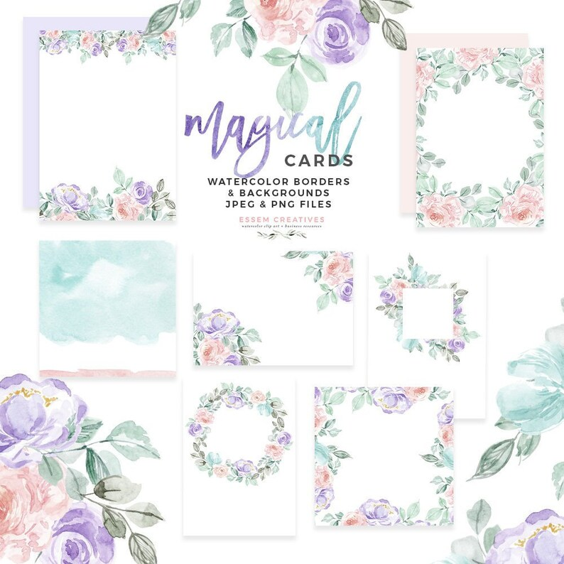 picture about Watercolor Floral Border Paper Printable named Watercolor Floral Card Border Template, Wintertime Bouquets Clipart, Floral Invitation Electronic Papers Desk Range Birthday Social gathering Bridal Shower