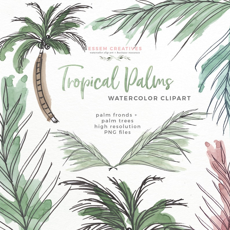 d062d99e873 Tropical Palm Leaves Watercolor Clipart Tropical Greenery