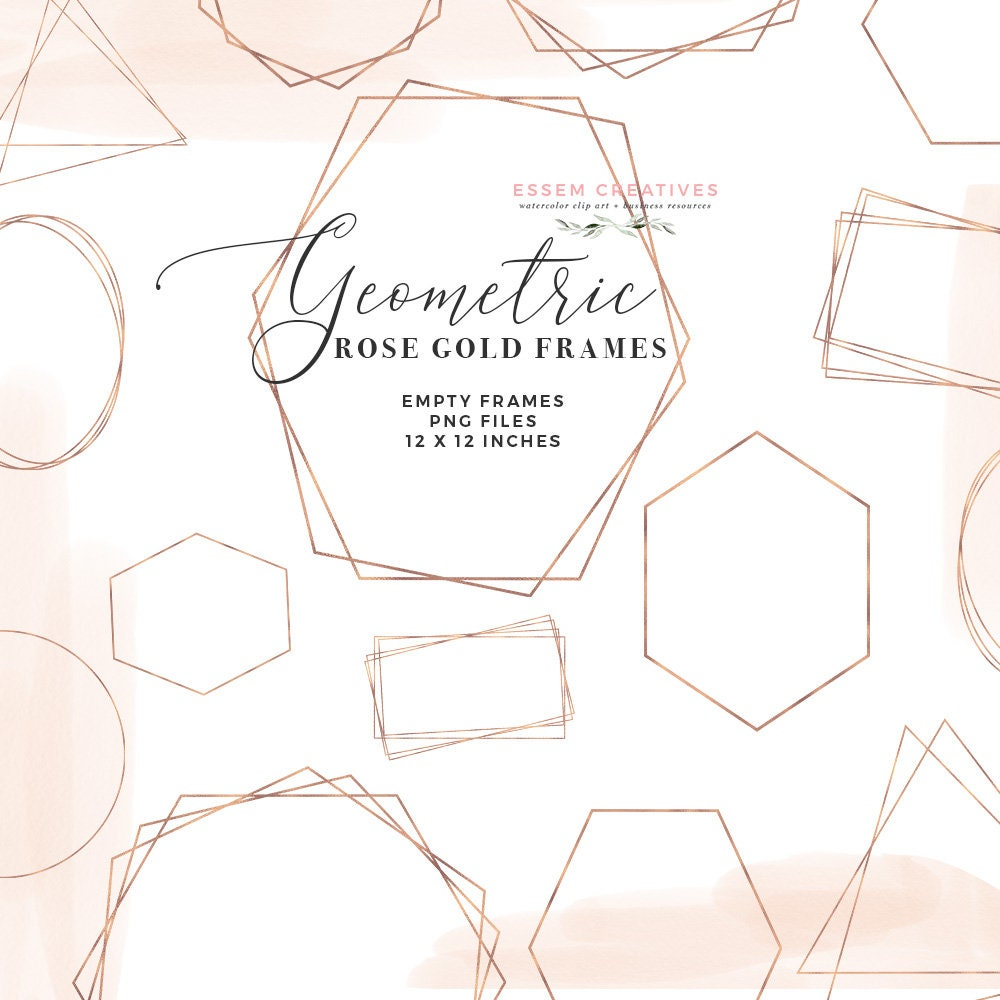 Empty Rose Gold Geometric Frames Clipart Crystal Frames Clip | Etsy