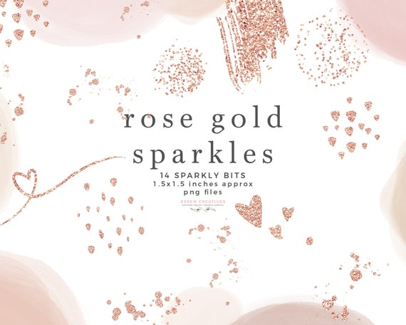 Sublimation PNG Files Abstract Rose Gold Foil Confetti Heart Brush Stroke Circle Brush Mark Logo Rose Gold Sparkle Glitter Clipart Overlay