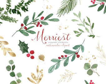 Watercolor Christmas Clipart, Christmas Leaves Foliage, Holiday Clip Art, Winter Greenery PNG Holly Jolly Mistletoe, Eucalyptus Branches