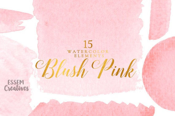Blush Pink Watercolor Splash Clipart Pink Ombre Background Etsy