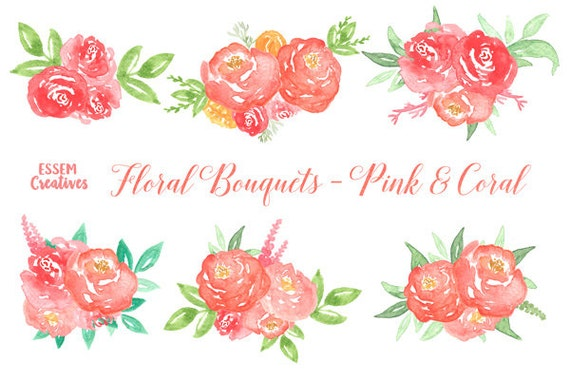 Coral Watercolor Flowers Floral Wreath Clipart Peony Etsy