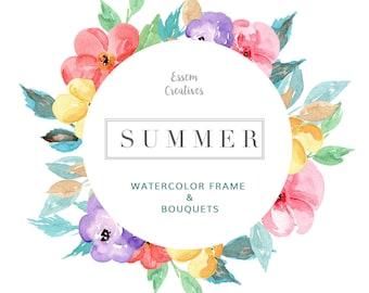 Tropical Watercolor Wreath Clipart, Floral Wreath Clipart, Frame Clip art, Summer Beach Wedding Clipart, Colorful Flower Background, Logo