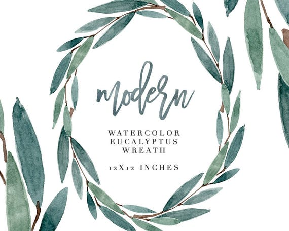 watercolor eucalyptus wreath clipart modern leaf wreath etsy