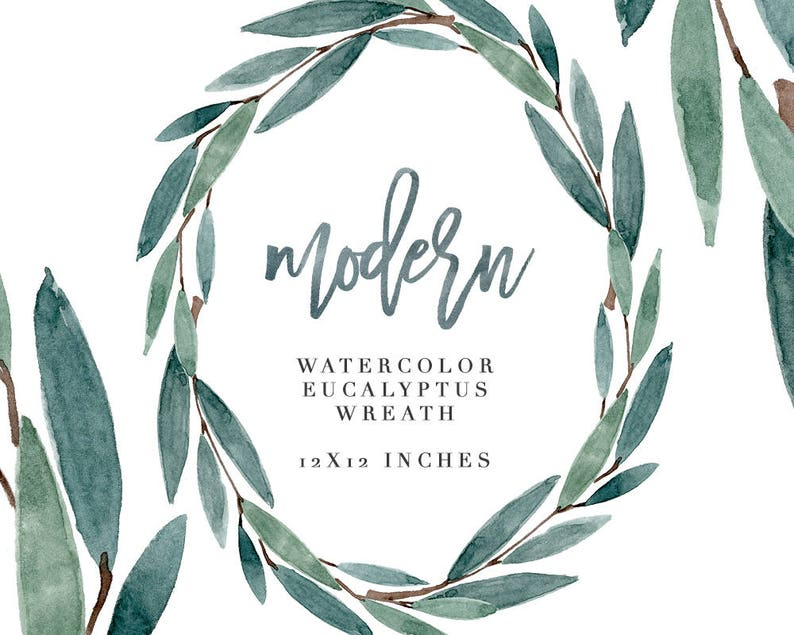 Watercolor eucalyptus wreath Greenery frame for wedding invitation Leaf Floral summer clipart Green leaves Card design Logo PNG