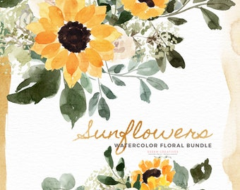 Watercolor Sunflowers Babys Breath Clipart, Rustic Fall Flowers Clip Art, Summer Floral Graphics, Yellow Floral Bouquets Frame Wreaths PNG
