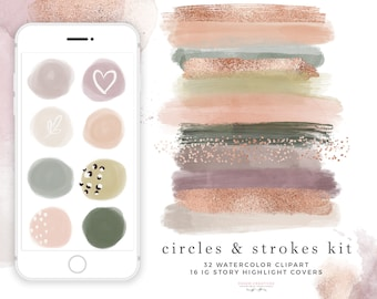 Watercolor Circles and Brush Strokes Clipart Texture Splash Splodge for Instagram Story Highlight Covers, Mauve Pink Digital Planner Sticker