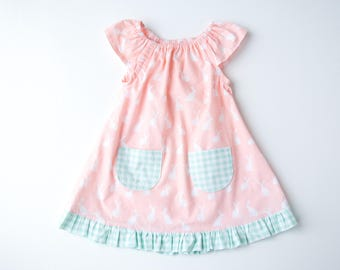 4b8525466f52 Cottontail Baby Dress-Baby Girl Easter Dress-Ruffled Dress-Rabbits   Buffalo  Check-Pink and Mint-Flutter Sleeve Dress with Pockets