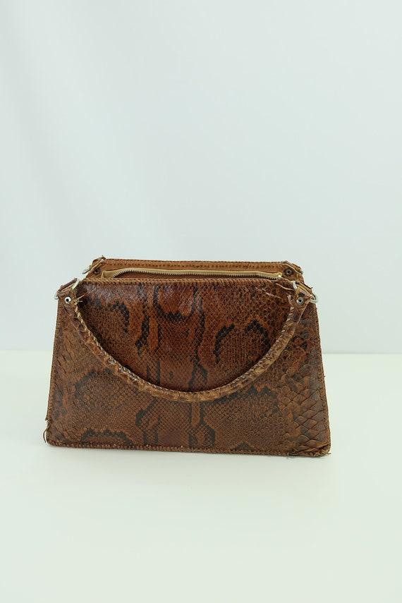 Vintage snakeskin bag/python skin bag. Vintage pu… - image 9