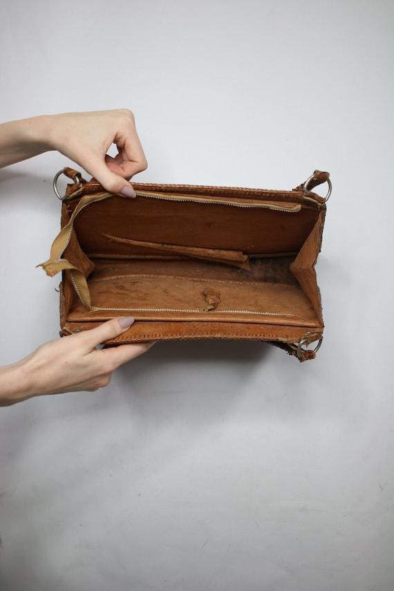 Vintage snakeskin bag/python skin bag. Vintage pu… - image 4