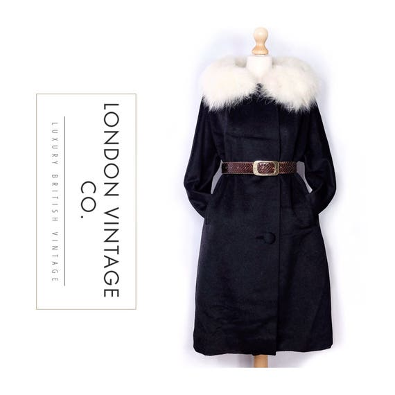 1960s black wool coat with white fox fur collar {V