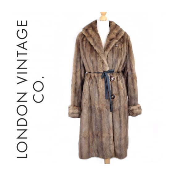 1950s-1960s brown musquash fur coat {Vintage fur … - image 1