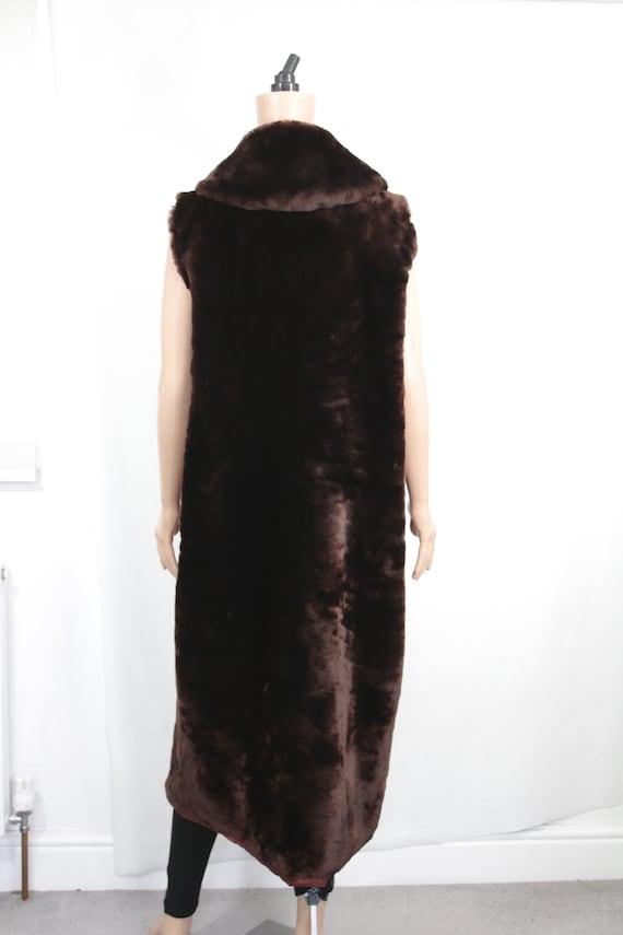 1960s-1970s brown mouton fur vest {Real fur/vinta… - image 5
