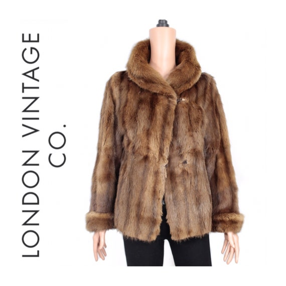 1950s-1960s brown musquash fur coat {Vintage fur … - image 1