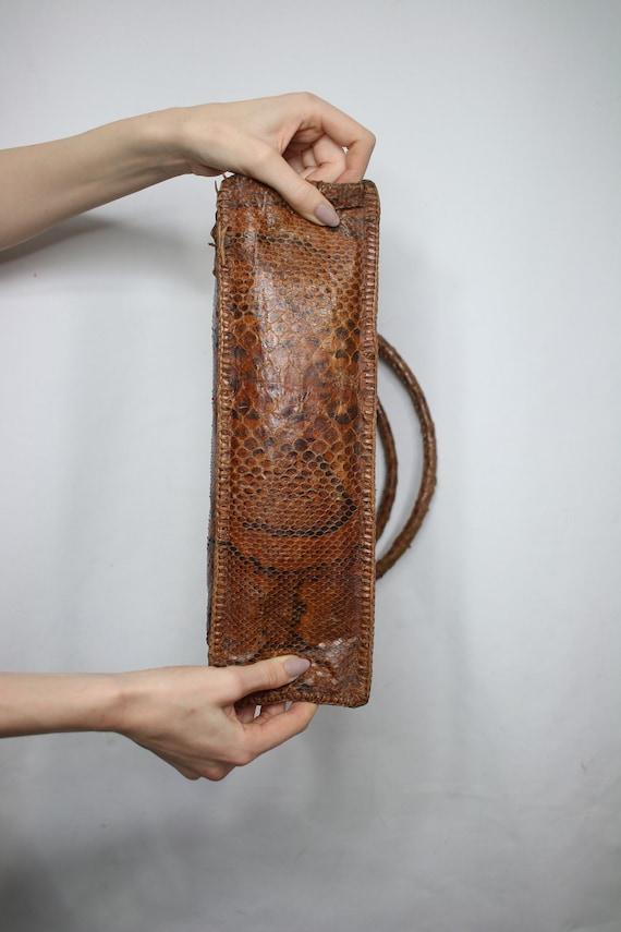 Vintage snakeskin bag/python skin bag. Vintage pu… - image 5