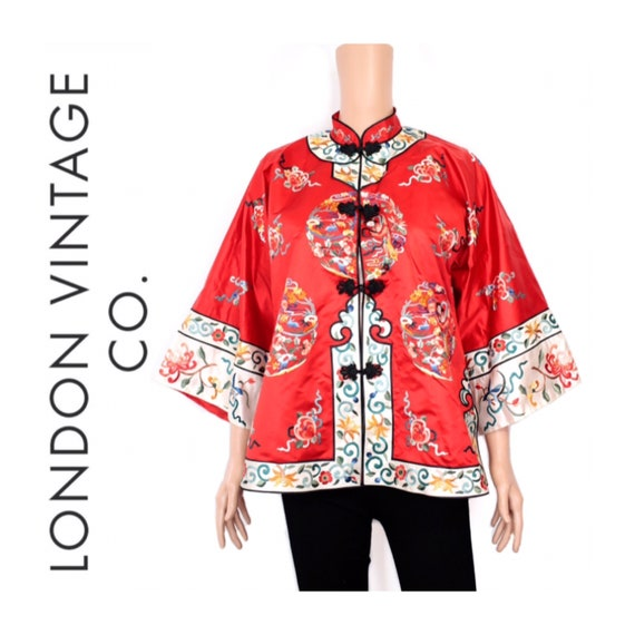 Vintage red Chinese jacket with embroidery {Vintag