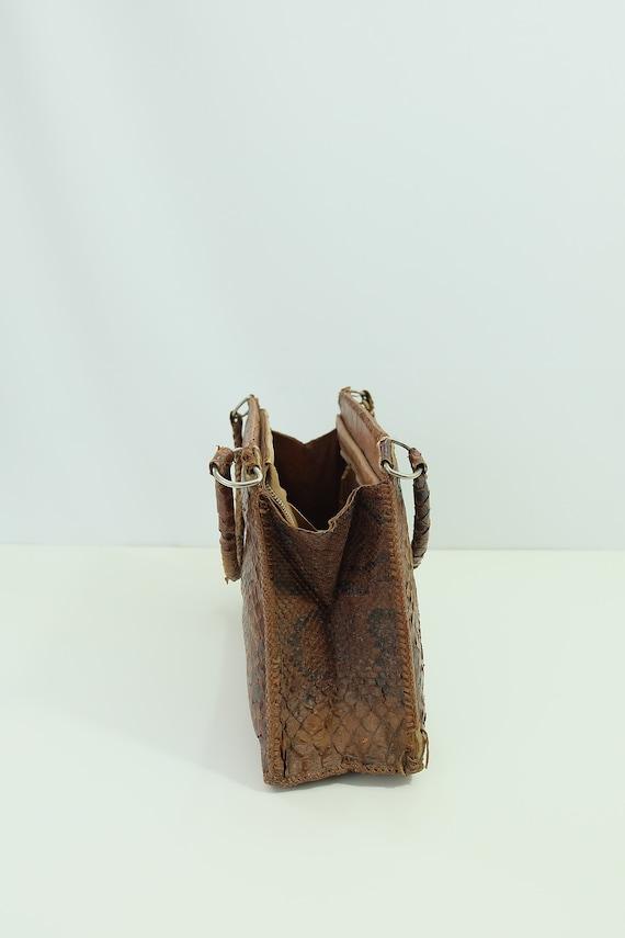 Vintage snakeskin bag/python skin bag. Vintage pu… - image 10