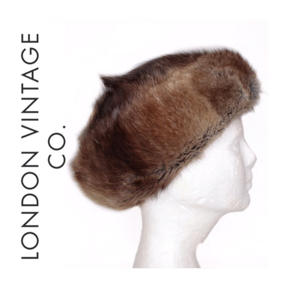 1960s-1970s grey-brown beaver fur/musquash fur hat