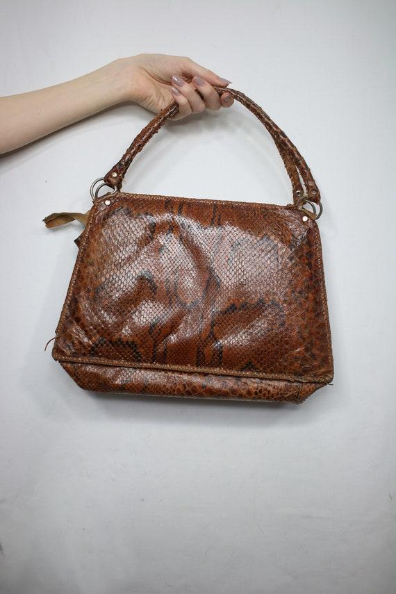 Vintage snakeskin bag/python skin bag. Vintage pu… - image 3