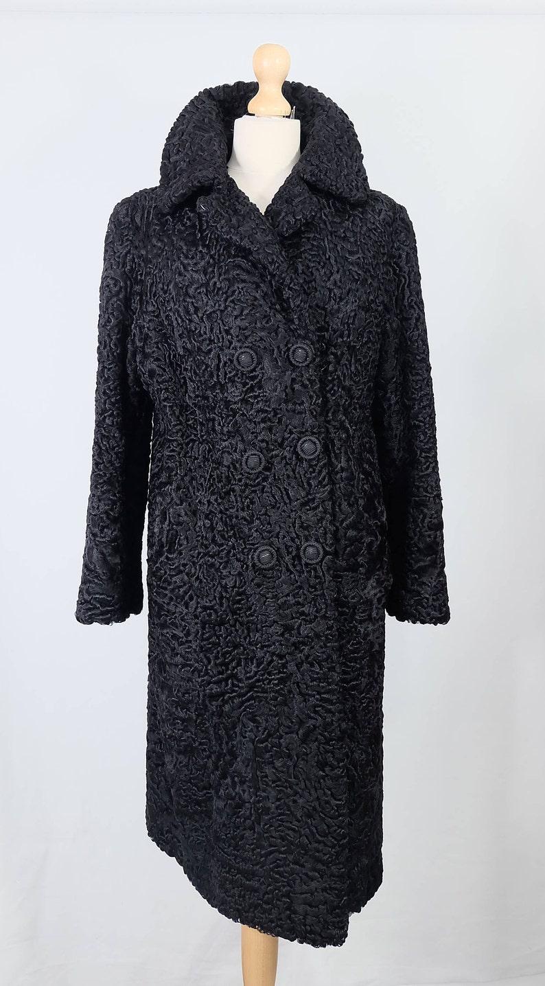 Vintage beautiful black lambsheep real fur trench coatlong coatjacket.perfect vintage winter coat