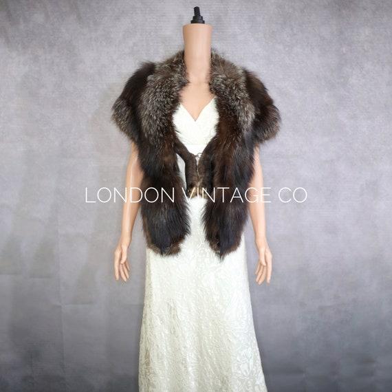 1940s silver fox fur stole {Vintage fox fur/real f