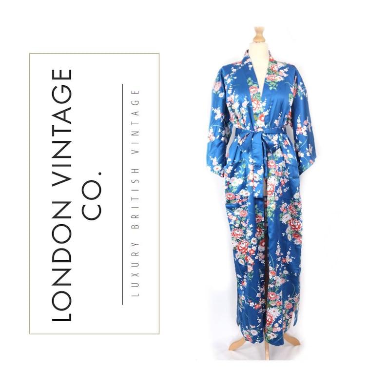 c610fea8bc3379 Vintage blau seidig Kimono/Bademantel/Kleid mit rosa/weiß | Etsy