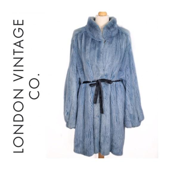 1980s-1990s blue mink fur coat {Real mink fur/vint