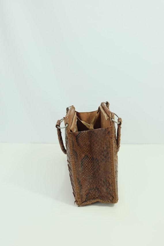 Vintage snakeskin bag/python skin bag. Vintage pu… - image 8