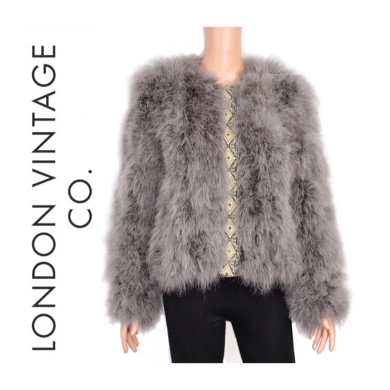 90s-00s Ostrich feather jacket/feather coat {Vinta